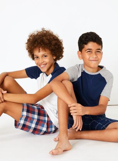 Marks & Spencer 2'li Ekose Pijama Seti Lacivert